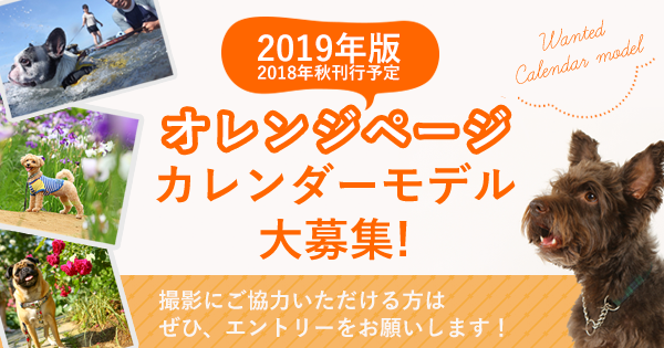 オレンジページ2019年版カレンダーモデル犬大募集!